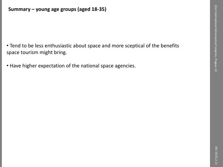Summary – young age groups (aged 18-35)