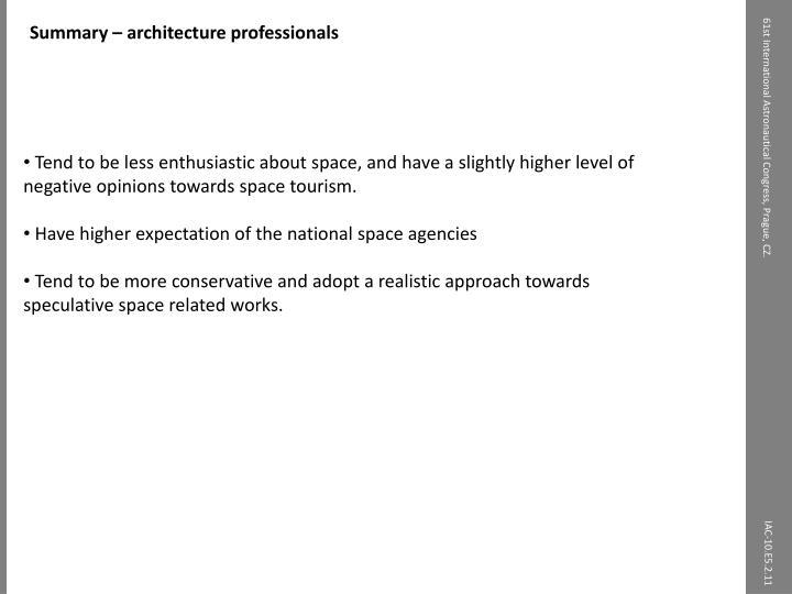 Summary – architecture professionals