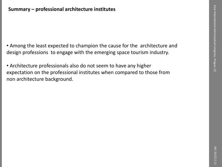 Summary – professional architecture institutes