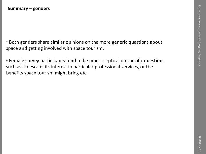 Summary – genders