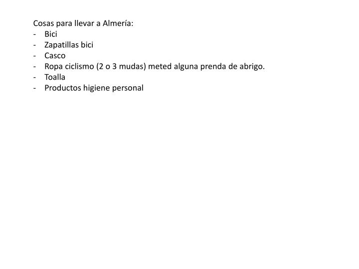 Cosas para llevar a Almería:
