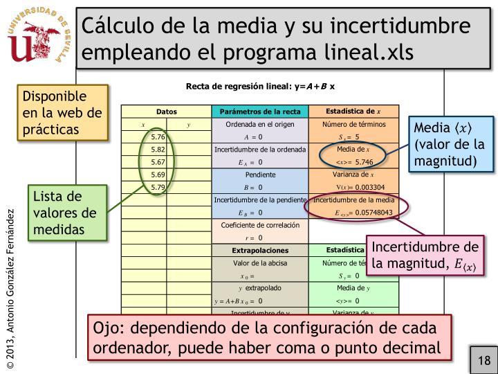 Cálculo de la media y su incertidumbre empleando el programa lineal.xls