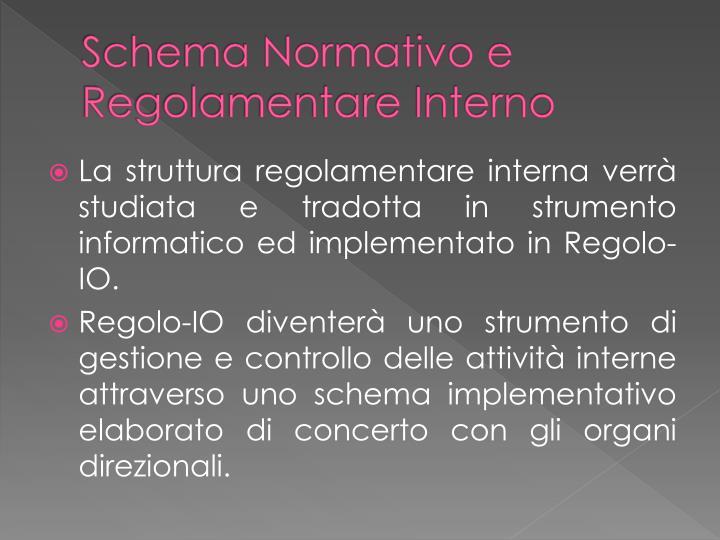 Schema Normativo e Regolamentare Interno