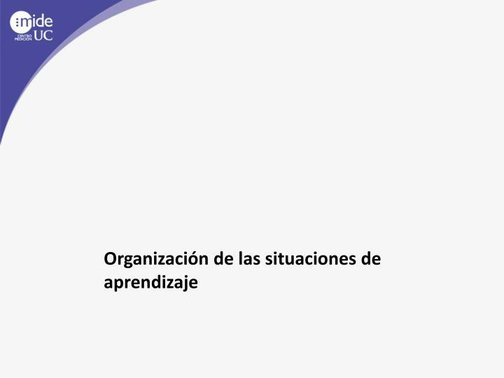 Organización de las situaciones de aprendizaje