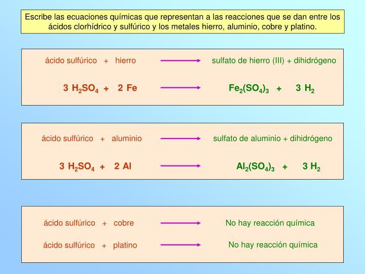 Escribe las ecuaciones químicas que representan a las reacciones que se dan entre los