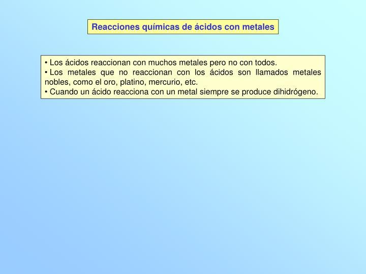Reacciones químicas de ácidos con metales