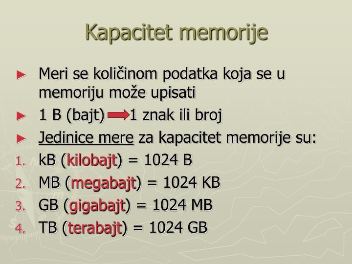Kapacitet memorije