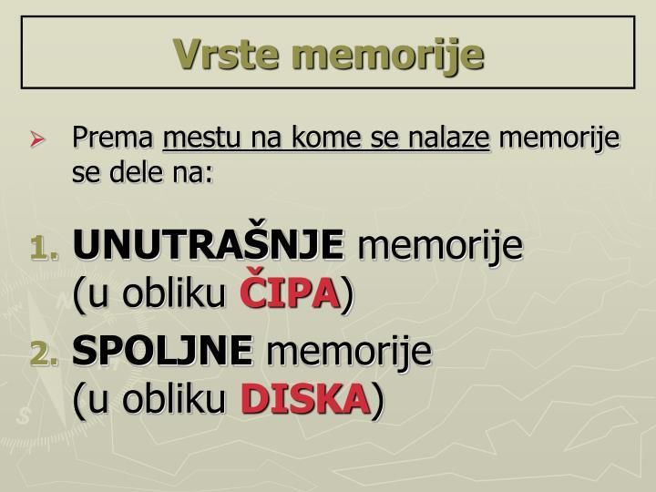 Vrste memorije