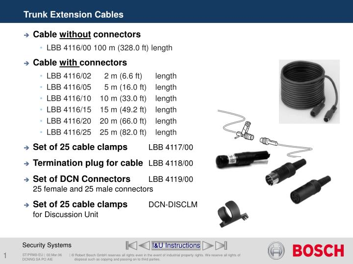 Trunk extension cables