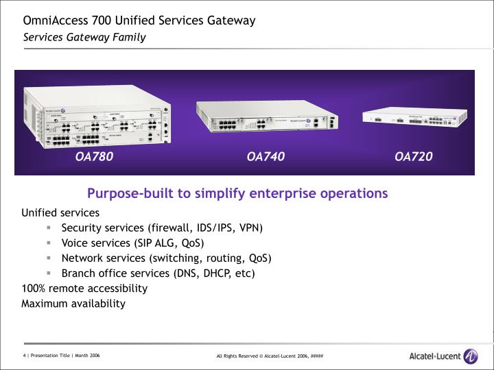 OmniAccess 700 Unified Services Gateway