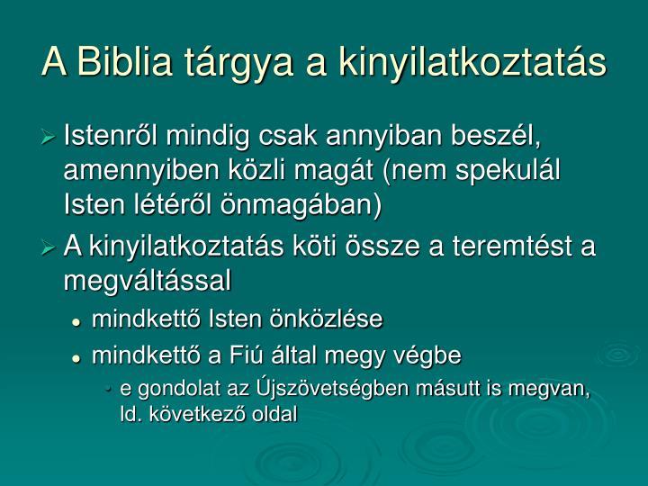 A Biblia tárgya a kinyilatkoztatás
