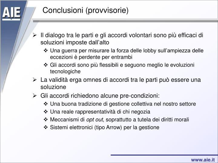 Conclusioni (provvisorie)