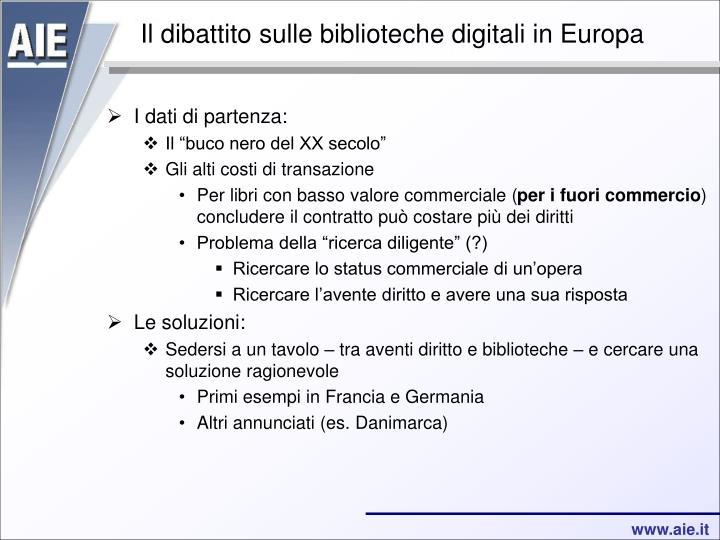 Il dibattito sulle biblioteche digitali in Europa