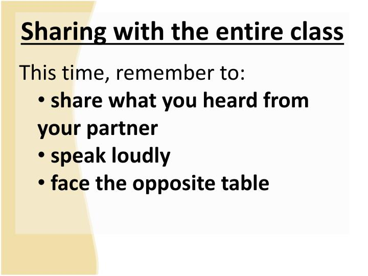 Sharing with the entire class