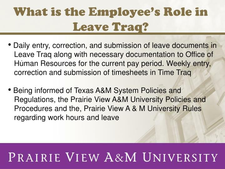 what is the employee s role in leave traq