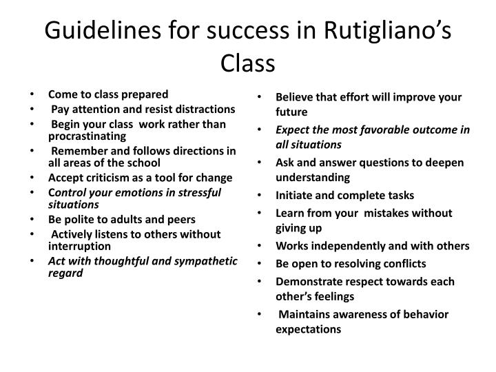 Guidelines for success in