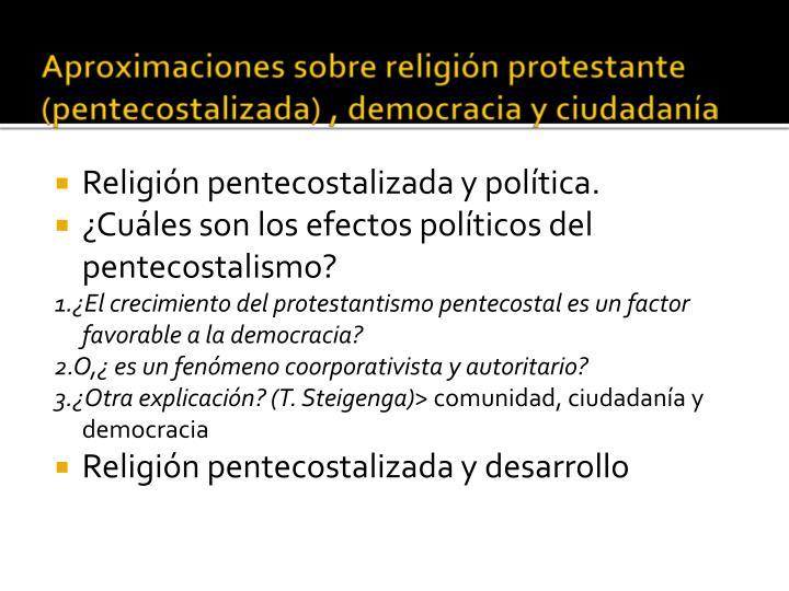 Aproximaciones sobre religión protestante (