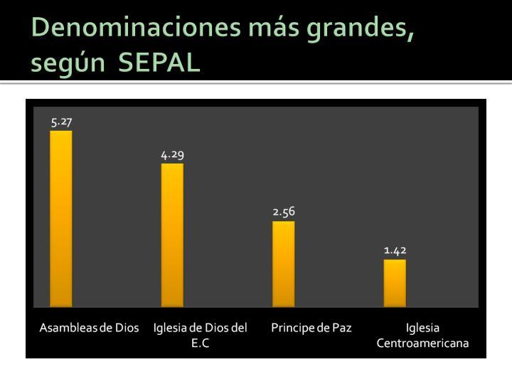 Denominaciones más grandes, según  SEPAL