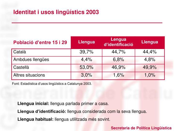 Identitat i usos lingüístics 2003