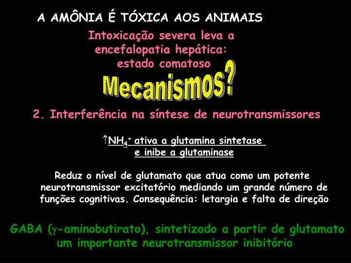 A AMÔNIA É TÓXICA AOS ANIMAIS