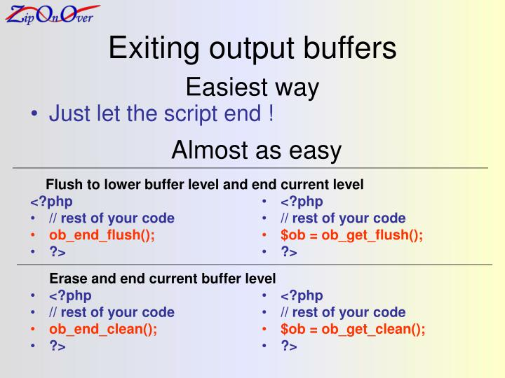 Exiting output buffers
