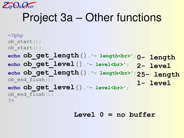 Project 3a – Other functions