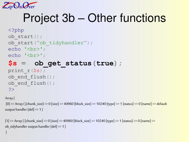Project 3b – Other functions