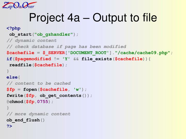 Project 4a – Output to file