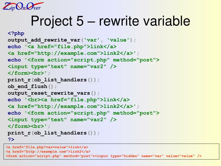 Project 5 – rewrite variable