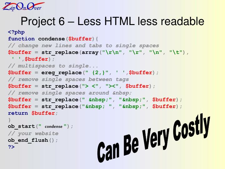 Project 6 – Less HTML less readable