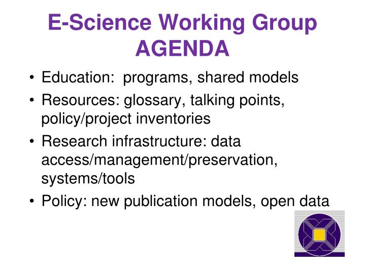 E science working group agenda
