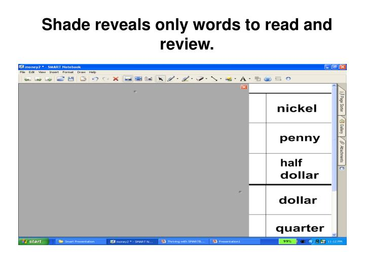 Shade reveals only words to read and review.