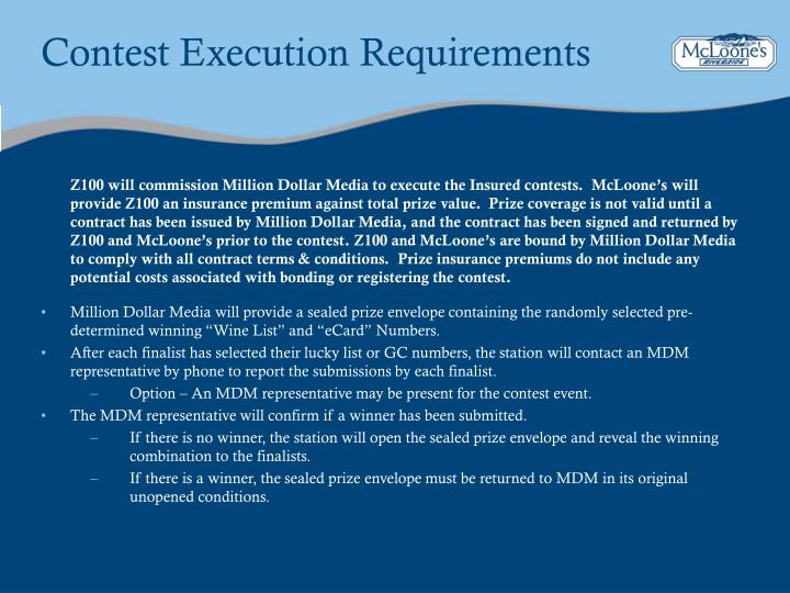 Contest Execution Requirements