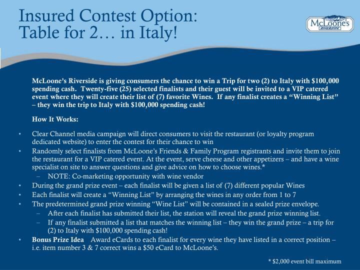 Insured Contest Option: