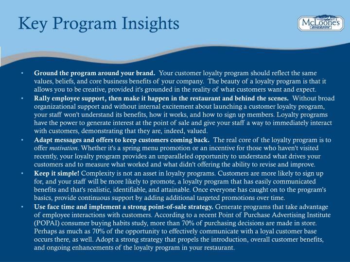Key Program Insights