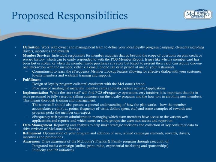 Proposed Responsibilities