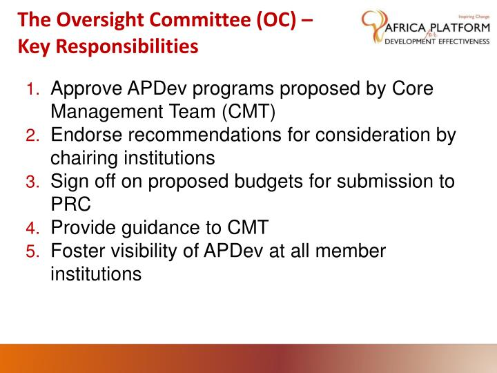 The oversight committee oc key responsibilities