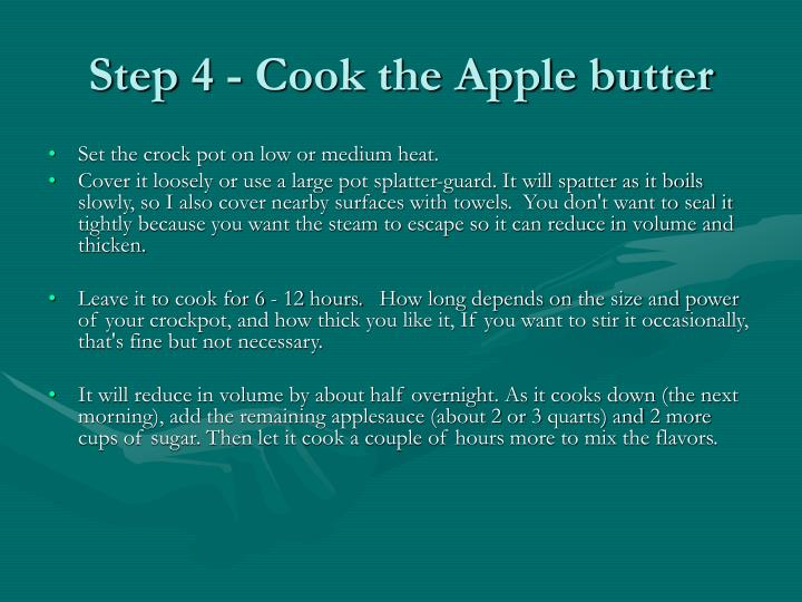 Step 4 - Cook the Apple butter