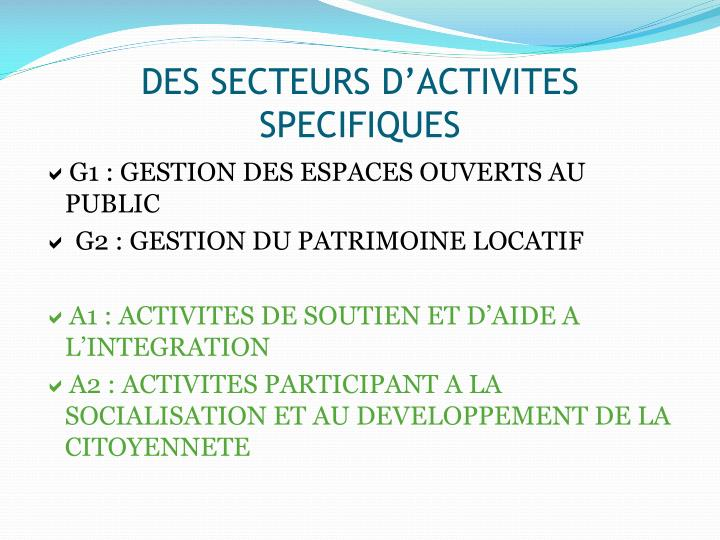 DES SECTEURS D'ACTIVITES SPECIFIQUES