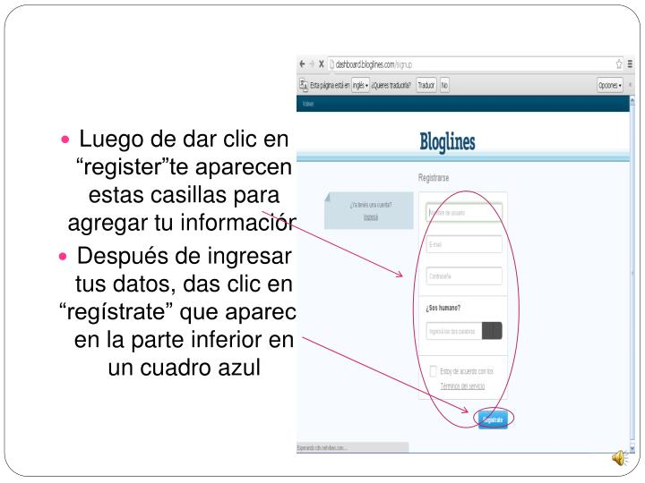 """Luego de dar clic en """"register""""te aparecen estas casillas para agregar tu información"""