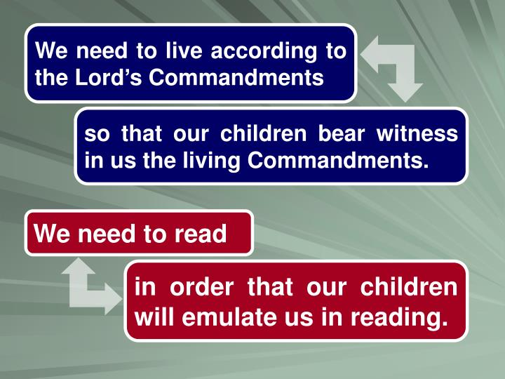 We need to live according to the Lord's Commandments