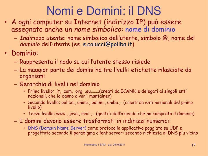 Nomi e Domini: il DNS