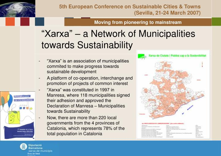 Xarxa a network of municipalities towards sustainability