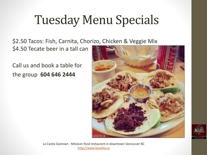 Tuesday Menu Specials