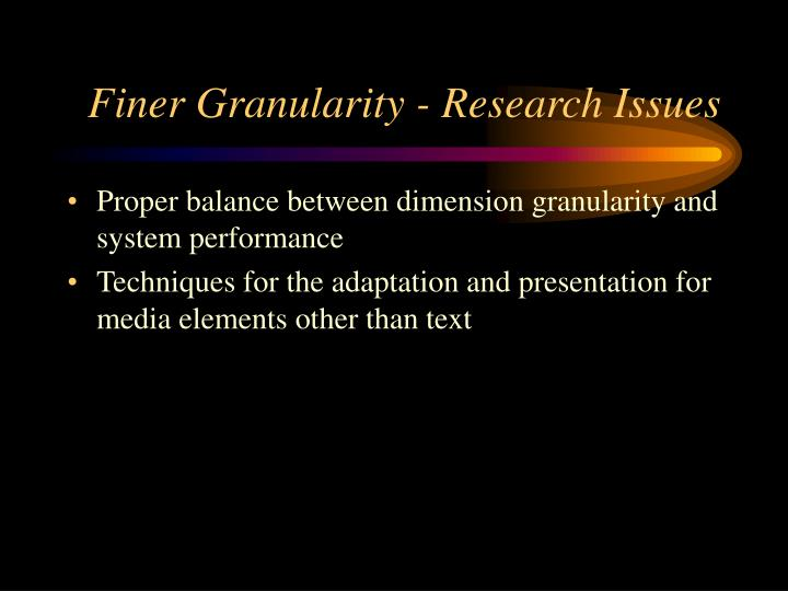 Finer Granularity - Research Issues