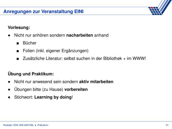 Anregungen zur Veranstaltung EINI
