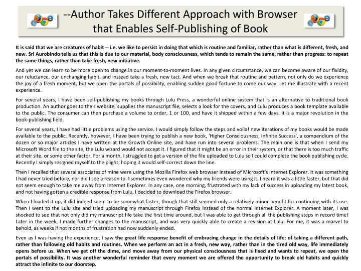 --Author Takes Different Approach with Browser