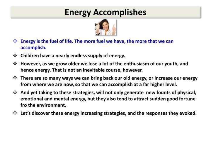 Energy Accomplishes
