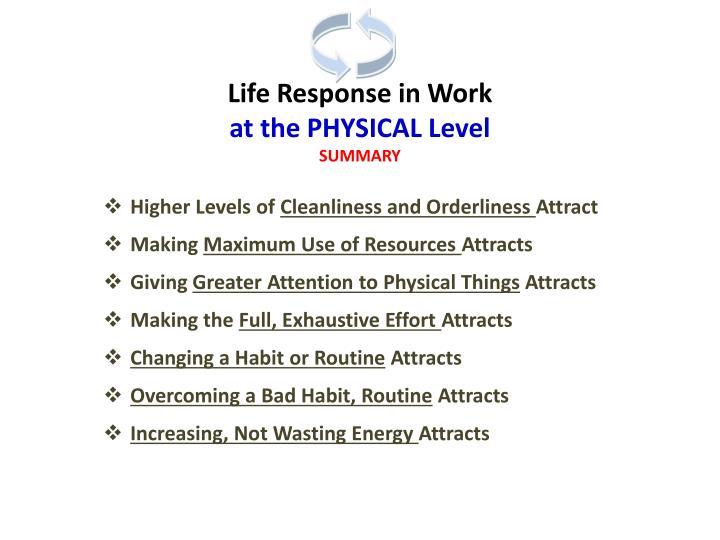 Life Response in Work