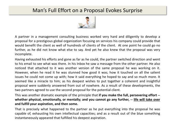 Man's Full Effort on a Proposal Evokes Surprise